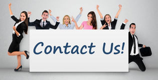 Contact us word on banner Royalty Free Stock Photography
