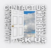 Contact Us Word Door Customer Support Service Stock Photo