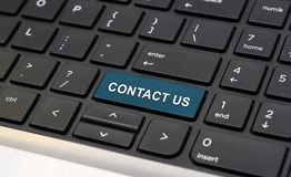 Contact Us Word on Laptop keyboard closeup Stock Images