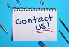 Contact us word Stock Image
