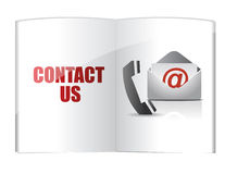 Contact us words on book Royalty Free Stock Photos