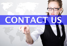 Contact us written in search bar on virtual screen. Internet technologies in business and home. woman in business suit Royalty Free Stock Images