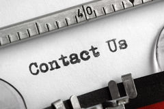 Contact Us written on typewriter Royalty Free Stock Photos
