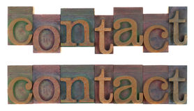 Contact - vieux type en bois d'impression typographique Photos libres de droits