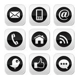 Contact, web, blog and social media buttons - twitter, facebook, rss. Social media, contact page grey square buttons set  on white Stock Images