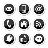 Contact, web, blog and social media round icons - twitter, facebook, rss
