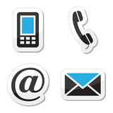 Contact web and internet icons set. Buttons set styled as labels for Contact Us page Stock Photos