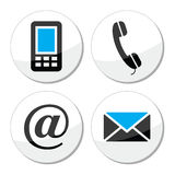 Contact web and internet  icons set. Round black and blue labels for Contact us page isolated on white Royalty Free Stock Photos