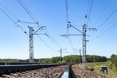 Contact wires and broad gauge rails in the perspective of the spring day. industry railway transportation, logistics. Moscow. Region Russia stock images