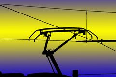 Contact wires modern electrified railway Royalty Free Stock Photos