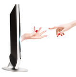 Contact With TV Reality Royalty Free Stock Images