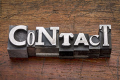 Contact word in metal type Stock Image