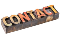 Contact word in vintage wood type Royalty Free Stock Photos