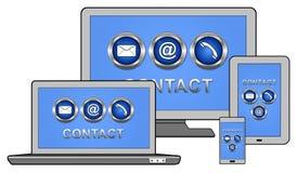 Contactconcept op verschillende apparaten stock illustratie