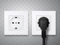 Contactdoos en stop in elektro geïsoleerde die afzet wordt opgenomen Royalty-vrije Stock Foto