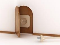 Contactdoos en stop in het huis. 3D Royalty-vrije Stock Foto's