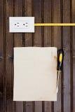 Contactdoos met met kabel aangesloten Stock Afbeeldingen