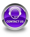 Contacte-nos (ícone do cuidado do cliente) botão redondo roxo lustroso Imagens de Stock