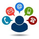 Contacte-nos ícones do correio da chamada ilustração royalty free