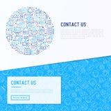 Contacte-nos conceito no círculo Foto de Stock Royalty Free