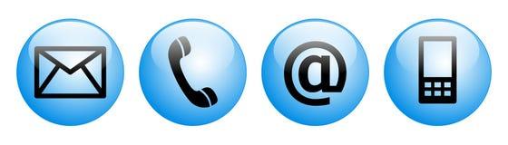 Contacte-nos os botões da Web azuis Foto de Stock Royalty Free