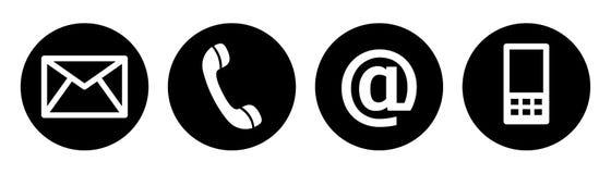 Contacte-nos preto dos botões da Web Imagens de Stock Royalty Free