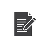 Contacte o vetor do ícone do formulário, escreva, edite o sinal liso enchido ilustração stock
