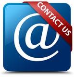 Contacteer binnen ons (e-mailadrespictogram) blauw vierkant knoop rood lint Royalty-vrije Stock Afbeelding