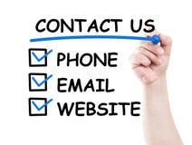Contacteer ons Stock Foto