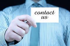 Contacteer ons - adreskaartje Stock Foto