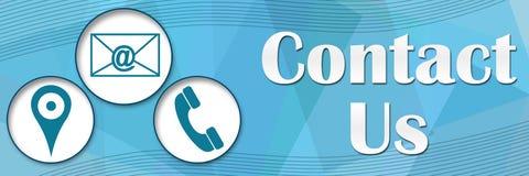 Contacteer ons Banner van Cirkels de Blauwe Vierkanten Royalty-vrije Stock Foto