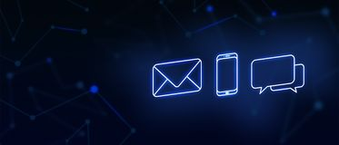 Contacteer ons, contact, e-mailcontact, vraag, bericht, landingspagina, achtergrond, dekkingspagina, pictogram royalty-vrije stock afbeeldingen