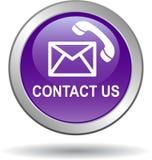 Contacteer ons de pictogrammenviooltje van de postvraag stock illustratie