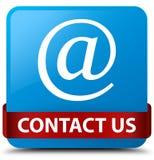 Contacteer ons (e-mailadrespictogram) cyaan blauwe vierkante knoop rode ribb Royalty-vrije Stock Fotografie