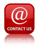Contacteer ons (e-mailadrespictogram) speciale rode vierkante knoop Royalty-vrije Stock Foto