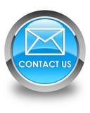 Contacteer ons (e-mailpictogram) glanzende cyaan blauwe ronde knoop stock illustratie