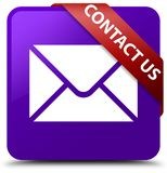 Contacteer ons (e-mailpictogram) purper vierkant knoop rood lint in corne Stock Foto's