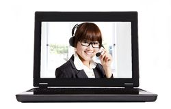 Contacteer ons en Internet call centre Stock Foto's