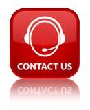 Contacteer ons (het pictogram van de klantenzorg) speciale rode vierkante knoop Royalty-vrije Stock Foto