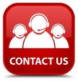 Contacteer ons (het teampictogram van de klantenzorg) speciale rode vierkante knoop Stock Afbeeldingen