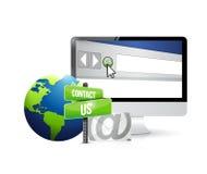 contacteer ons het teken van de postcomputer Stock Afbeeldingen