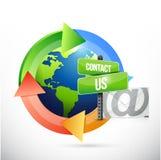 contacteer ons het tekenillustratie van de postcyclus Stock Fotografie