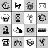 Contacteer ons Pictogrammen Geplaatst Zwart-wit Stock Afbeelding