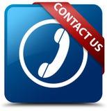 Contacteer ons (telefoonpictogram) blauw vierkant knoop rood lint in hoek Royalty-vrije Stock Afbeeldingen