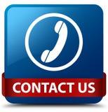 Contacteer ons (telefoonpictogram) blauw vierkant knoop rood lint in midden Royalty-vrije Stock Foto