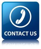 Contacteer ons (telefoonpictogram) blauwe vierkante knoop Royalty-vrije Stock Foto