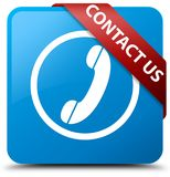 Contacteer ons (telefoonpictogram) cyaan blauw vierkant knoop rood lint in mede Royalty-vrije Stock Afbeeldingen
