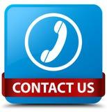 Contacteer ons (telefoonpictogram) cyaan blauw vierkant knoop rood lint in mi Stock Foto