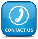 Contacteer ons (telefoonpictogram) speciale cyaan blauwe vierkante knoop Royalty-vrije Stock Afbeelding