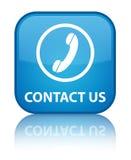 Contacteer ons (telefoonpictogram) speciale cyaan blauwe vierkante knoop Royalty-vrije Stock Foto's